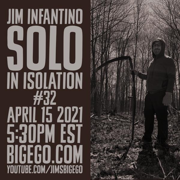 Jim with a scythe amidst trees
