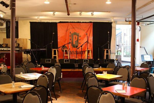 The stage at Club Passim