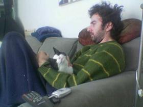 Kurt had to relax with Sophie the cat
